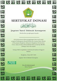 contoh sertifikat donasi