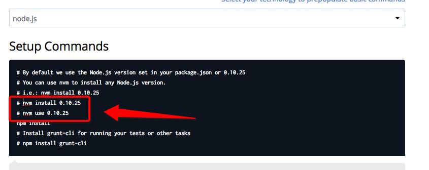 Codeship error: Version '0 10 25' not found - try `nvm ls