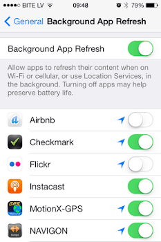 Apps background sync setting