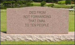 headstone: died from not forwarding that email to ten people