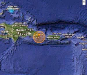 Quake Struck  West of Puerto Rico