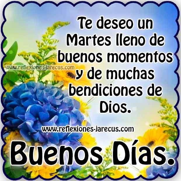 Te deseo un martes lleno de buenos momentos y de muchas bendiciones de Dios Buenos días