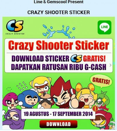 Download Stiker Crazy Shooter di Line dan Menangkan G-Cash