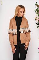Cardigan SunShine maro casual tricotat cu croi larg cu maneci lungi cu aplicatii cu paiete • SunShine