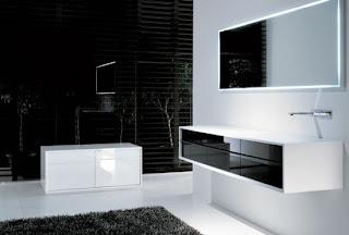 Baño de colores blanco y negro