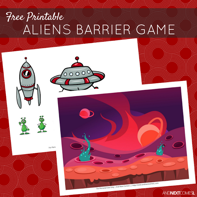 Free printable aliens themed barrier game for speech therapy from And Next Comes L