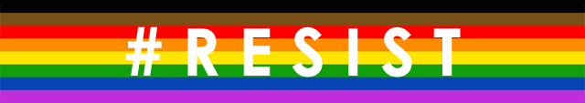 the Philadelphia Pride flag with the word RESIST in white text