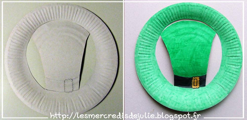 les mercredis de julie st patrick chapeau avec assiette en carton. Black Bedroom Furniture Sets. Home Design Ideas