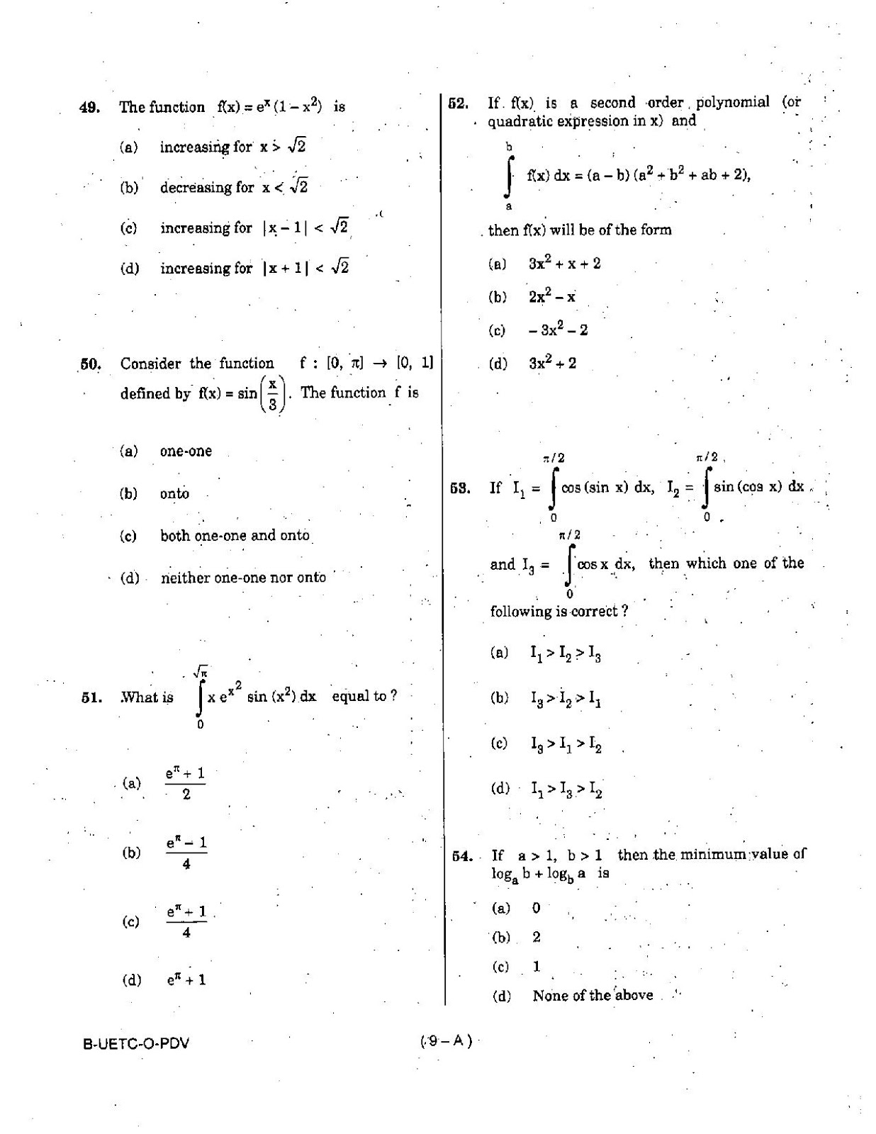 UPSC 2015 Mathematics Question Paper