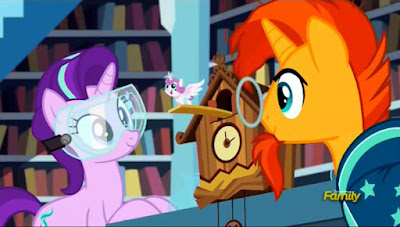 "Starlight and Sunburst make a ""Flurry"" clock"