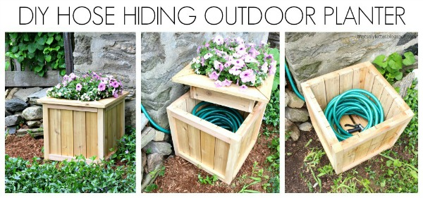 Summer projects- DIY hose hiding outdoor planter