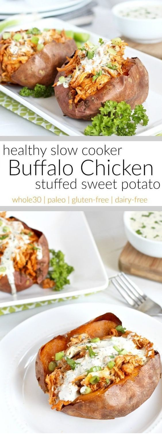 Slow Cooker Buffalo Chicken Stuffed Sweet Potato