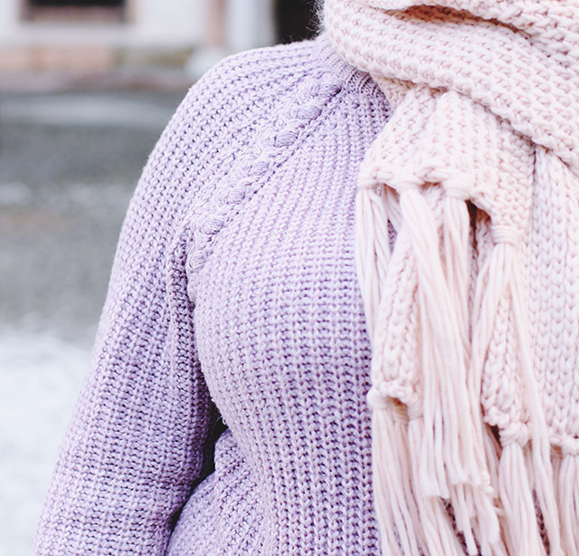 Purple jumper pink scarf