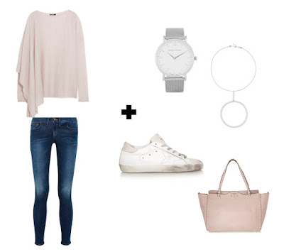 Лавандовый свитер с джинсами, кроссовками и розовой сумкой