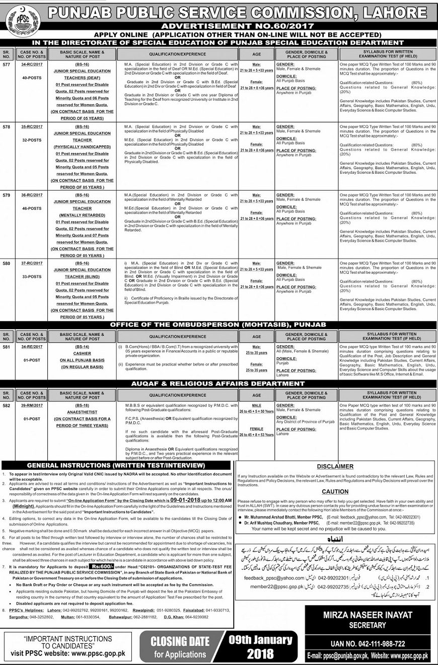 Jobs in PPSC, Jobs in Education Department, Educator Jobs in Punjab,Educator Jobs,Jobs for Teachers