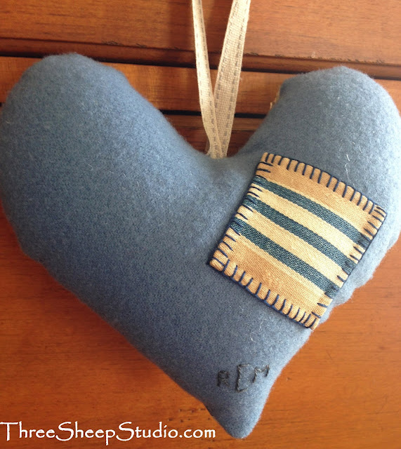 'Most Loved' Punch Needle Heart on Mattress Ticking by Rose Clay