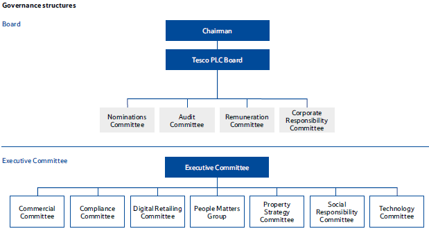 tesco organization structure Organizational structure is one of the critical determinants of success in a global organization functions performed by the company customer market served processes and systems which handles international holdings home goods and other non-food items sold in tesco extra and other stores.