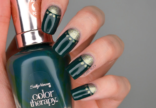 Green and Gold Half Moon Nail Art