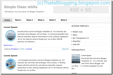 Simple Clean White Blogger Template 2013