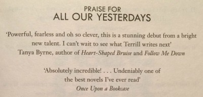 Quote in All Our Yesterdays by Cristin Terrill