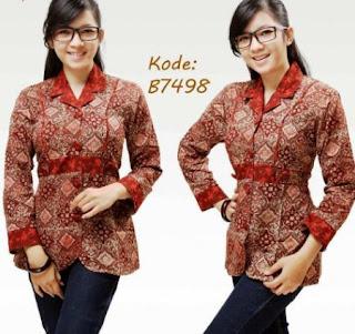 Desain kemeja batik wanita trend terbaru