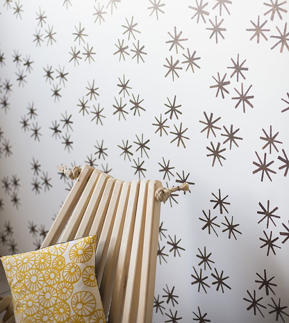 diy pared con estampado a base de pintura
