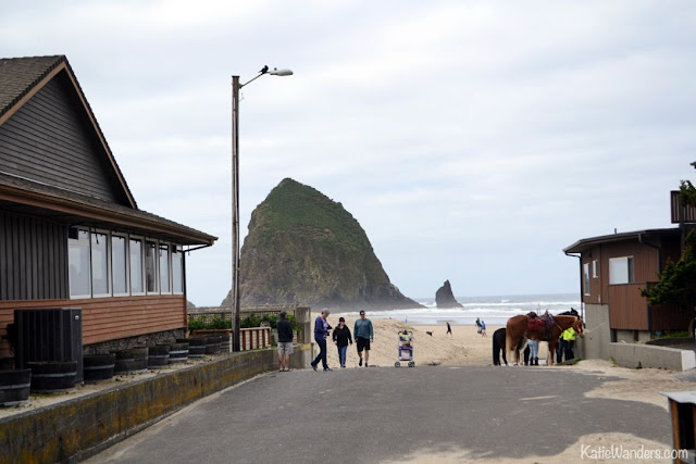 Horses at Cannon Beach and Haystack Rock, Oregon
