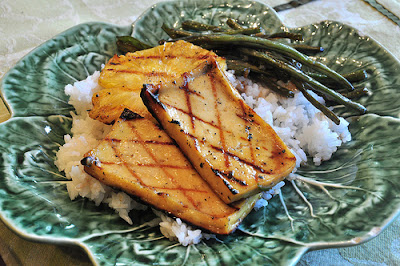 Glazed Caribbean Tofu with Rice and Peas Recipe | Healthy Tofu Recipe