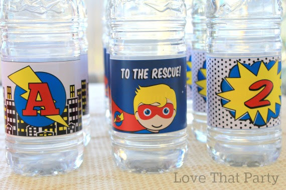 image of water bottle labels at child's 2nd birthday party