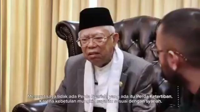 Ma'ruf Amin: Tidak Ada Perda Syariah, yang Ada Itu Perda Ketertiban
