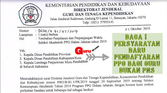 GAMBAR surat edaran perpanjangan pendaftaran Seleksi akademik PPG 2019