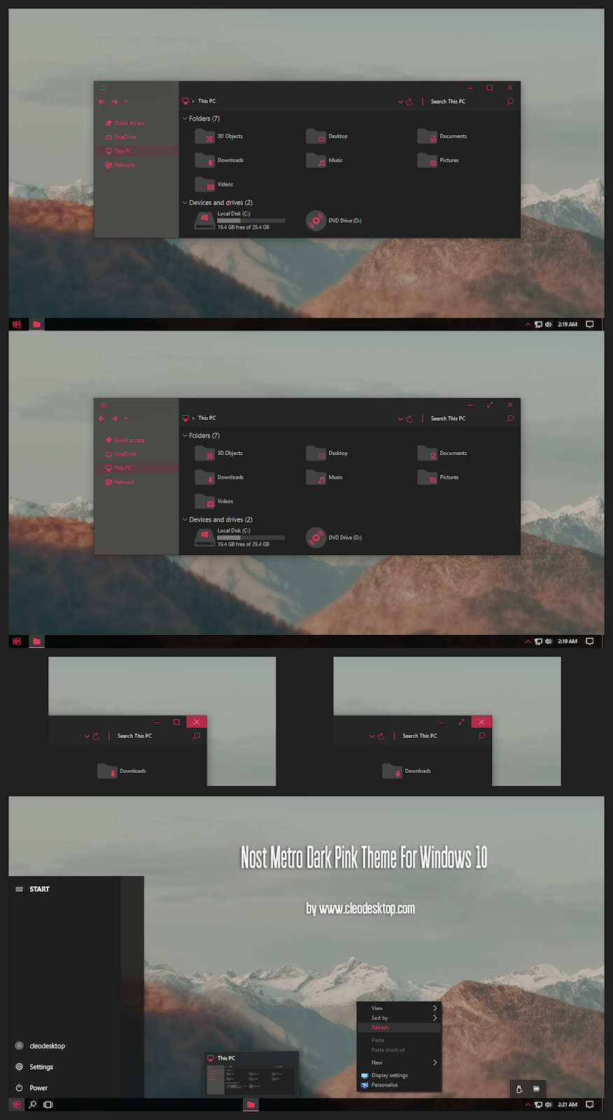 Nost Metro Dark Pink Theme Windows10 May 2019 Update 1903