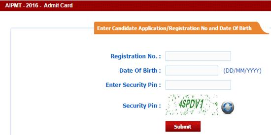 AIPMT Admit Card 2016