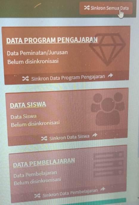 gambar Data siswa, pembelajaran tidak muncul di erapor