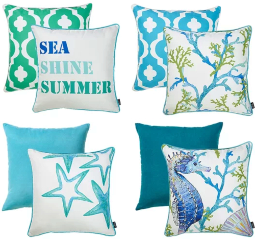 Blue Sea Pillows Coordinated