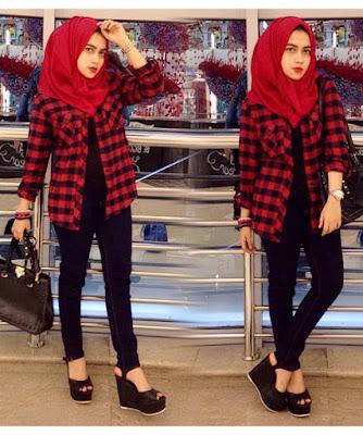 Kemeja Flanel Wanita Hijab