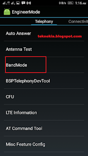telephony band mode LTE