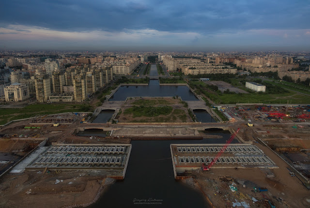 Вид на реку Смоленку, Васильевский остров. Санкт-Петербург