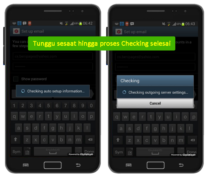proses checking outgoing server yahoo dalam android