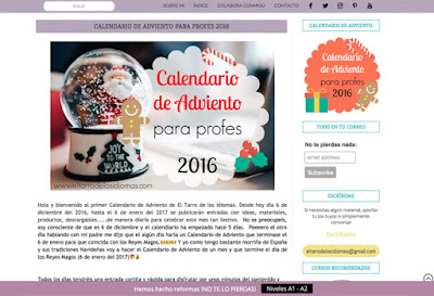 Calendario de adviento para profes - El tarro de los Idiomas