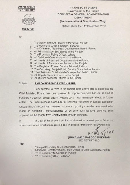 Ban on Transfers / Postings in Punjab