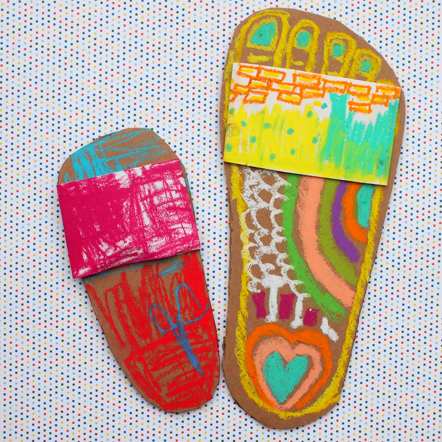 Colorful Flip Flop Art- Great Spring summer art project to do with the kids