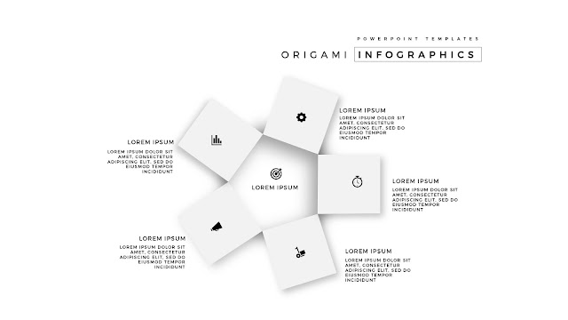 5 Icon options of Abstract Origami Infographics for PowerPoint Templates in White Background
