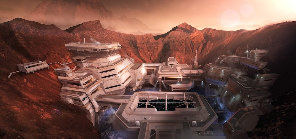 Human base in Martian crater - concept art for DOOM by Colin Geller