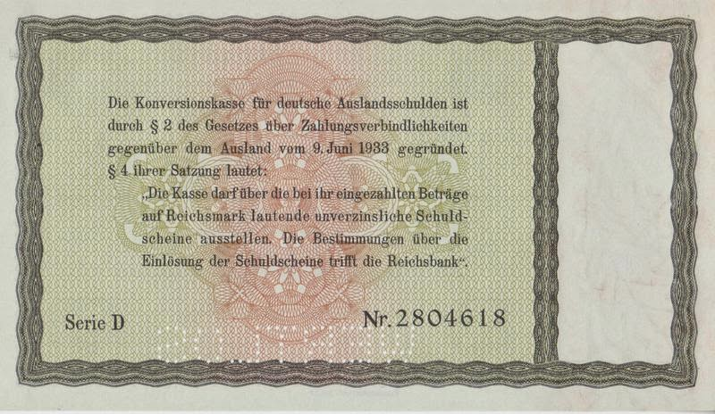 The Third Reich Promissory Notes issued to Jewish citizens 1934 - promissory notes