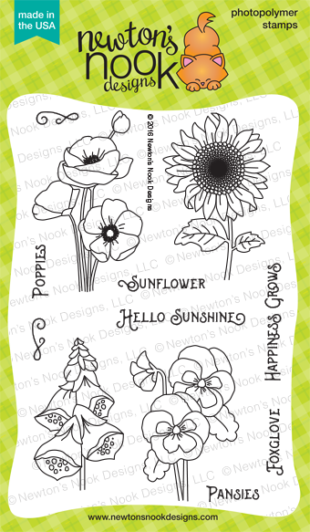 Flower Garden 4 x 6 garden stamp set by Newton's Nook Designs #newtonsnook