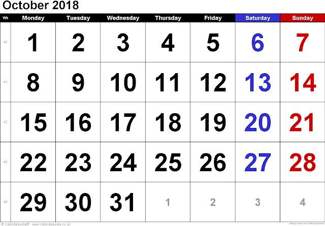 October A4 2018 calendar