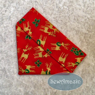 Christmas Dog Bandana, over the collar, reindeer