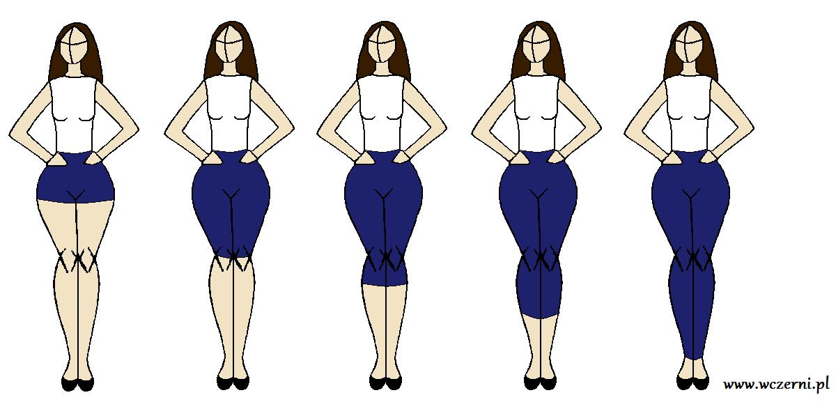szerokie biodra wyszczuplone za pomocą odpowiedniej długości spodni