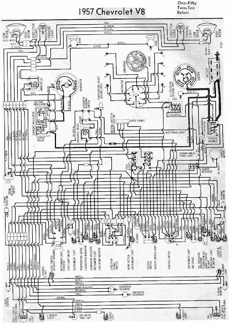 wiring schematic of the 1957 Chevrolet V8 | Loublet Schematic